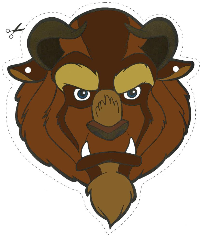 Stampa disegno di maschera della bestia da ritagliare a colori for Immagini tigre da colorare