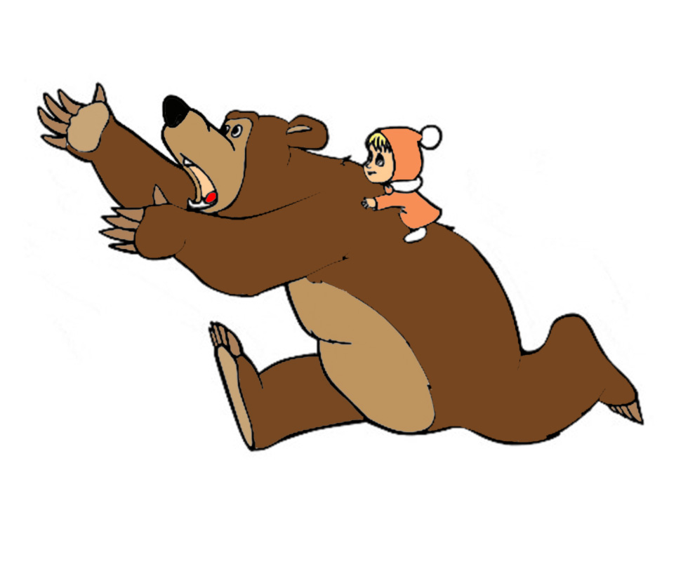 Stampa disegno di masha e orso a colori for Disegno orso per bambini