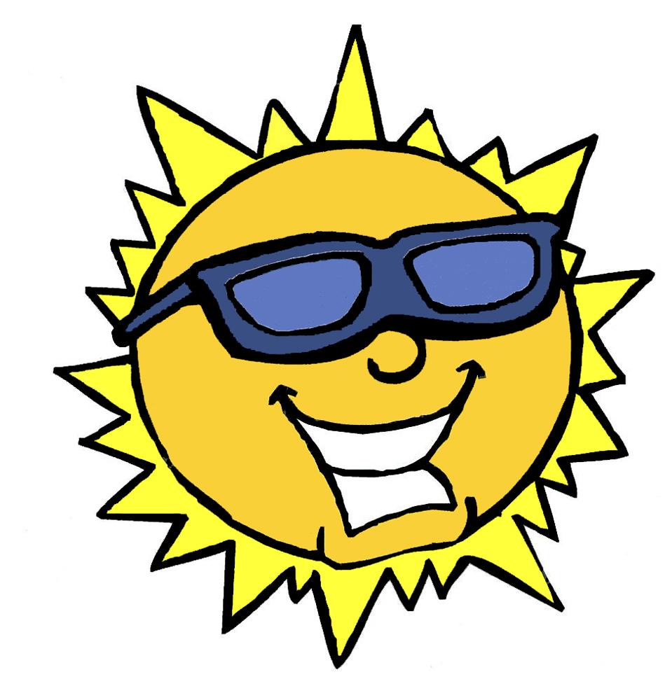 Stampa disegno di il sole con gli occhiali a colori