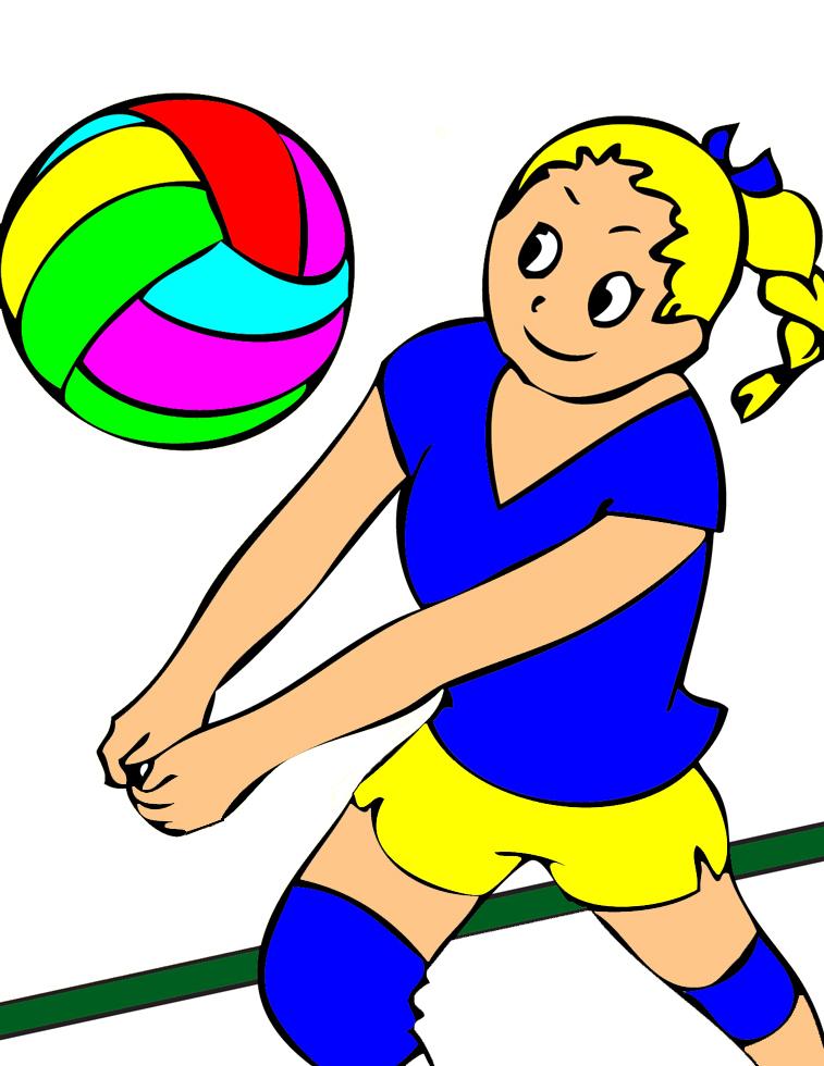Stampa disegno di la ragazza della pallavolo a colori - Immagine di una ragazza a colori ...