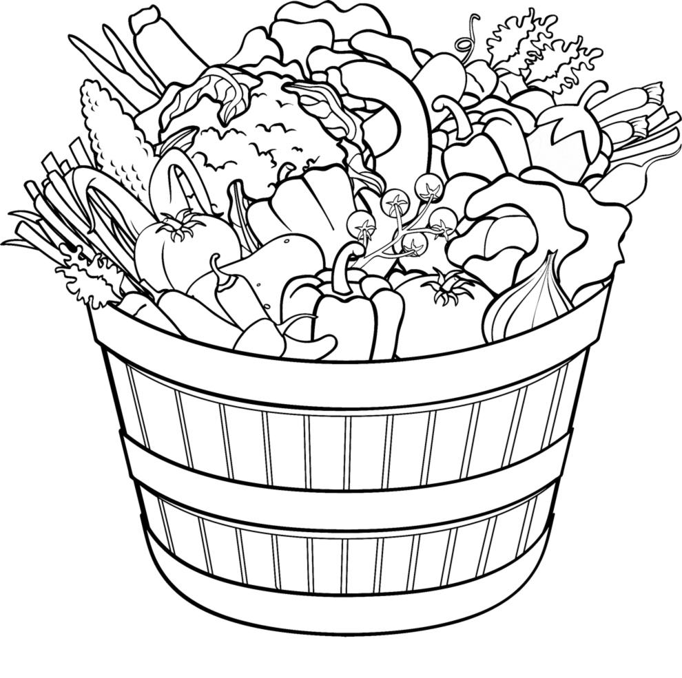 Stampa disegno di cesto di ortaggi e verdure da colorare - Colorare le pagine di verdure ...