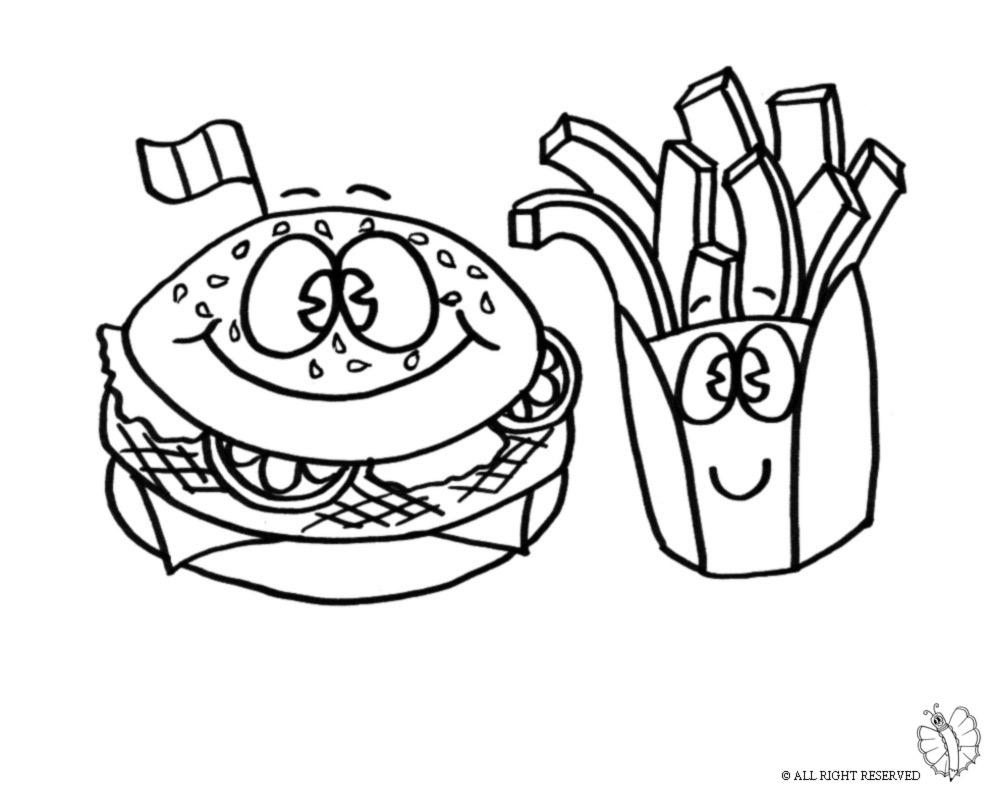 Stampa disegno di panino e patatine da colorare - Animali immagini da colorare pagine da colorare ...