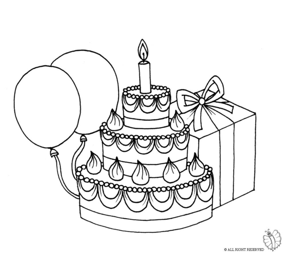 disegno di Torta Compleanno con Palloncini da colorare