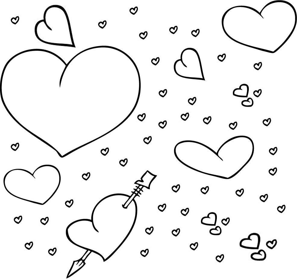 Stampa disegno di mille cuori da colorare for Disegni di cuori da stampare gratis