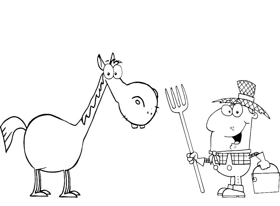 Stampa disegno di il cavallo nella fattoria da colorare for Fattoria immagini da colorare