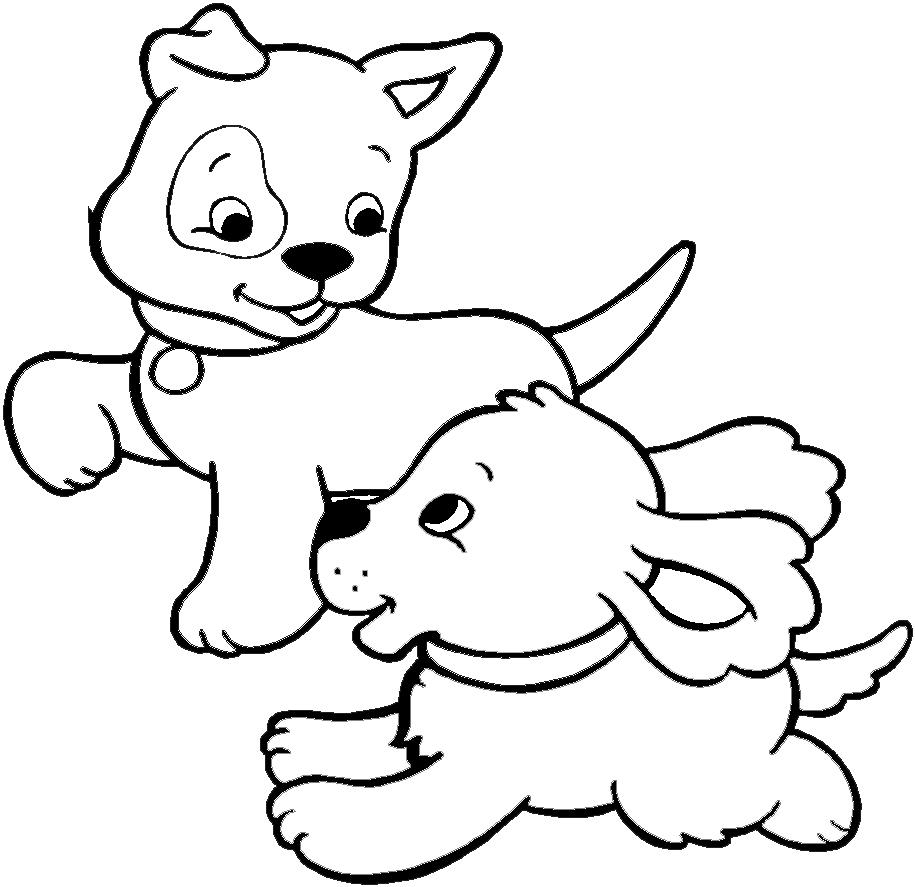 Stampa disegno di cuccioli di cane da colorare for Disegni da stampare e colorare di cani