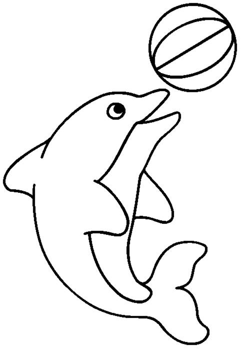 Stampa disegno di delfino con la palla da colorare for Delfino disegno da colorare