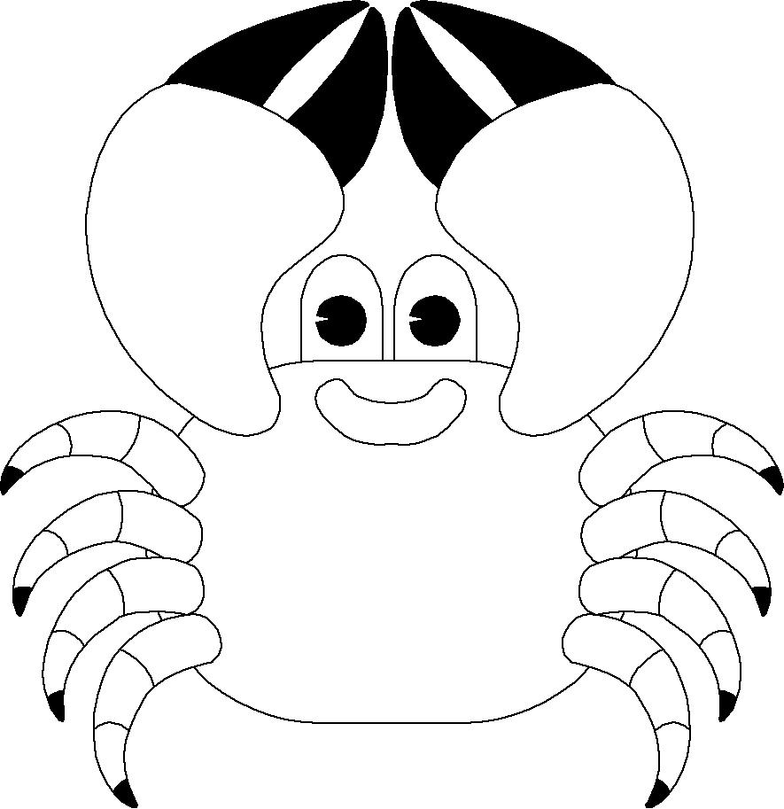 Stampa disegno di granchio da colorare for Immagini di animali marini da colorare