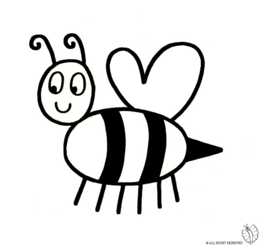 Stampa disegno di ape regina da colorare for Immagini api per bambini