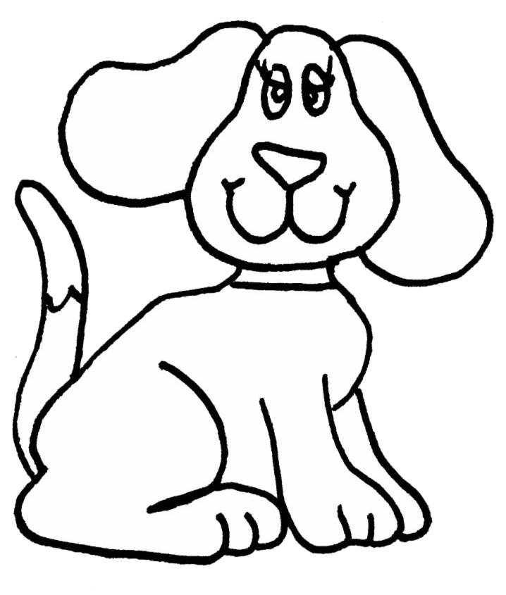Stampa disegno di cagnolina da colorare for Disegno cane facile