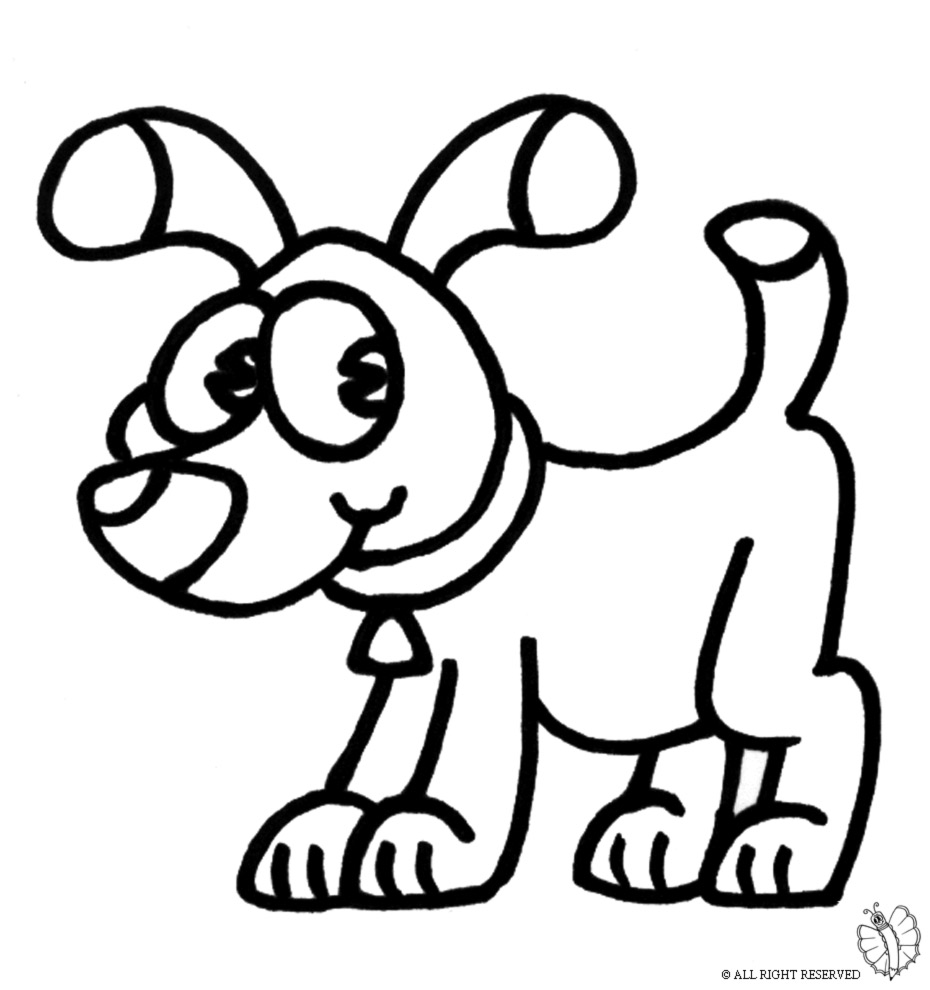 Stampa disegno di cane con collare da colorare - Animali immagini da colorare pagine da colorare ...