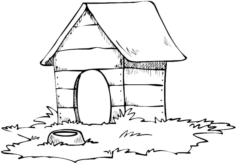 Stampa disegno di casa del cane da colorare for Disegno giardino da colorare