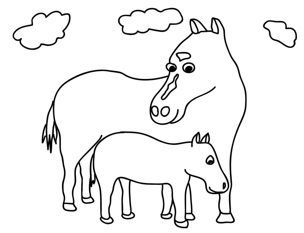Stampa disegno di cavalli da colorare for Disegni di cavalli da colorare