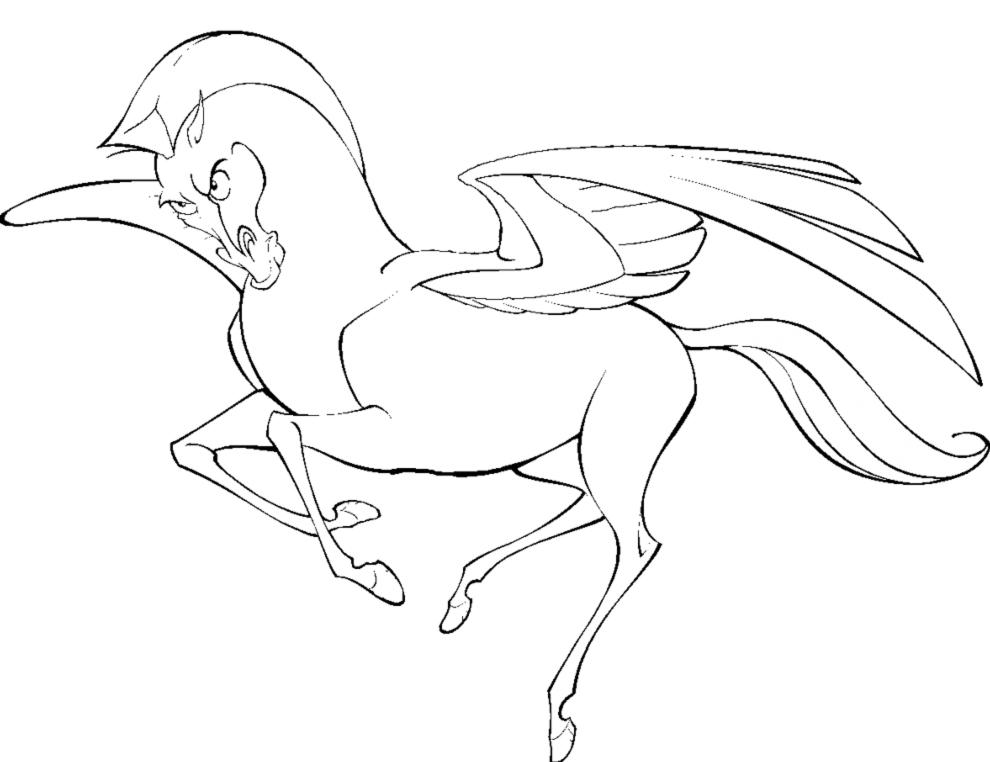 Stampa disegno di cavallo alato da colorare for Immagini cavalli da disegnare