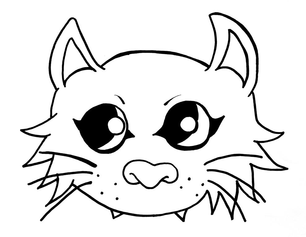 Stampa disegno di maschera del gatto da colorare for Immagini gatti da colorare