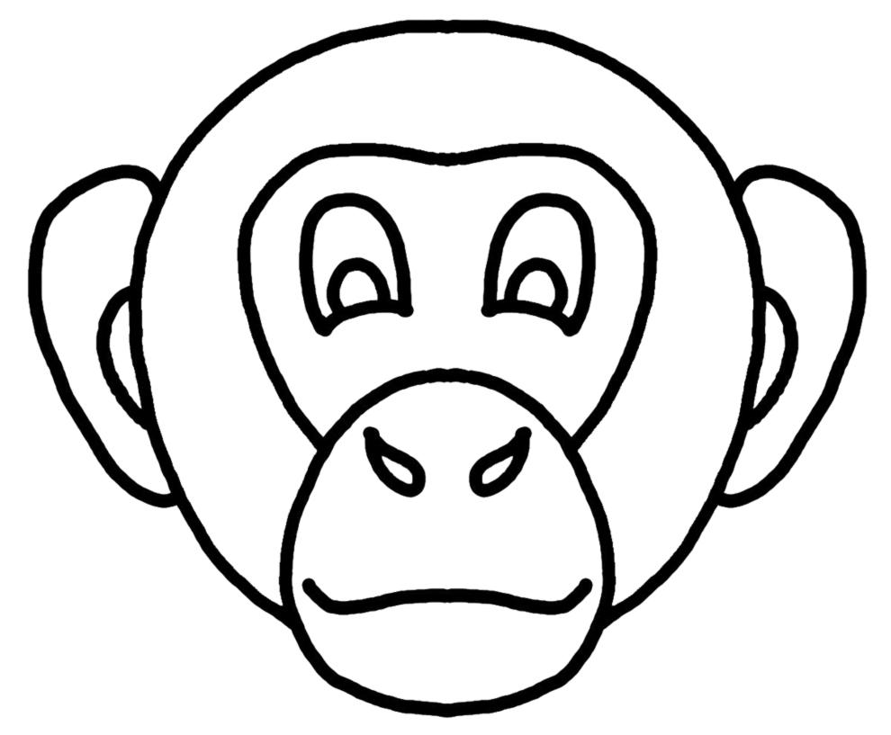 Stampa disegno di maschera di scimmietta da colorare - Scimmia faccia da colorare pagine da colorare ...