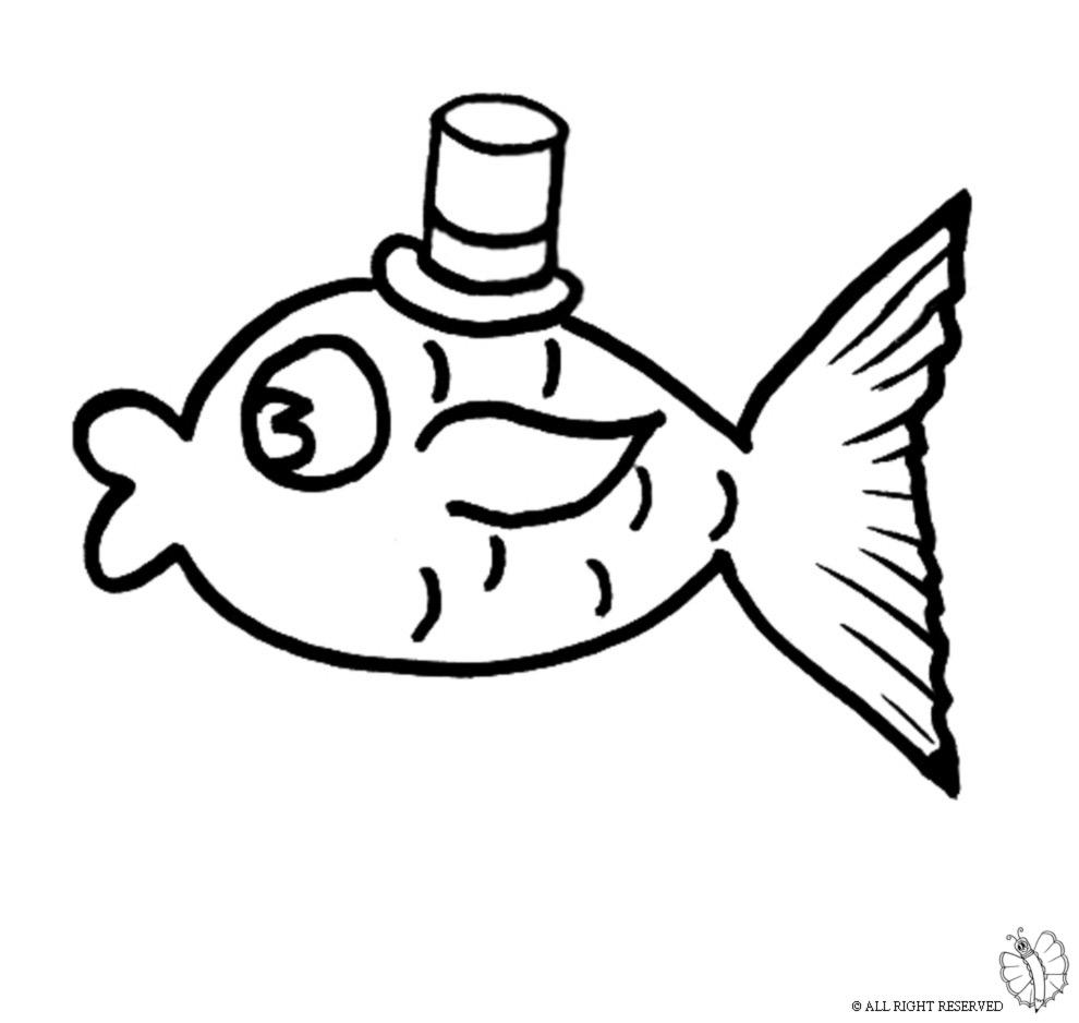 Stampa disegno di pesce con cappello da colorare for Disegni di pesci da colorare