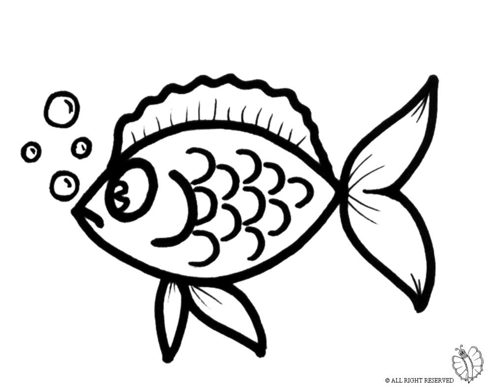 Stampa disegno di pesciolino con le bollicine da colorare for Immagini di pesci da disegnare