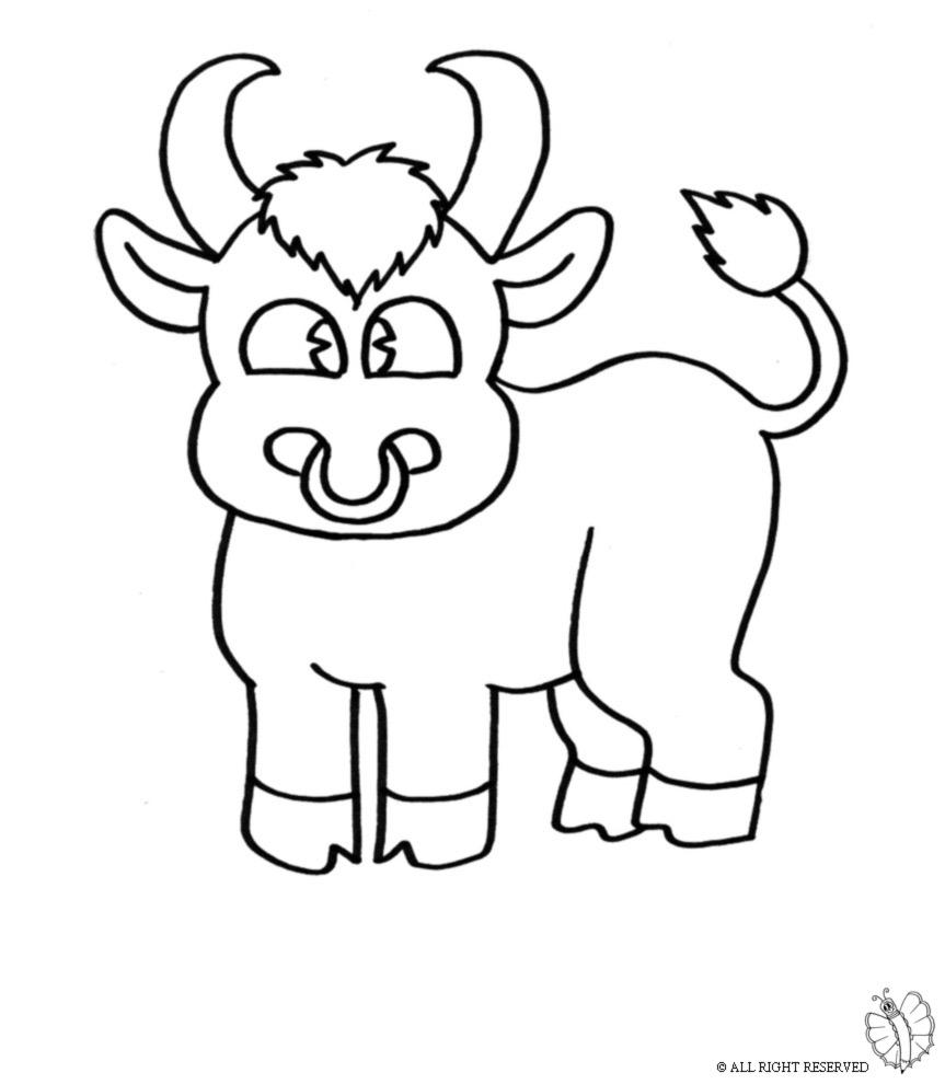 Stampa disegno di piccolo toro da colorare for Disegno gatto facile