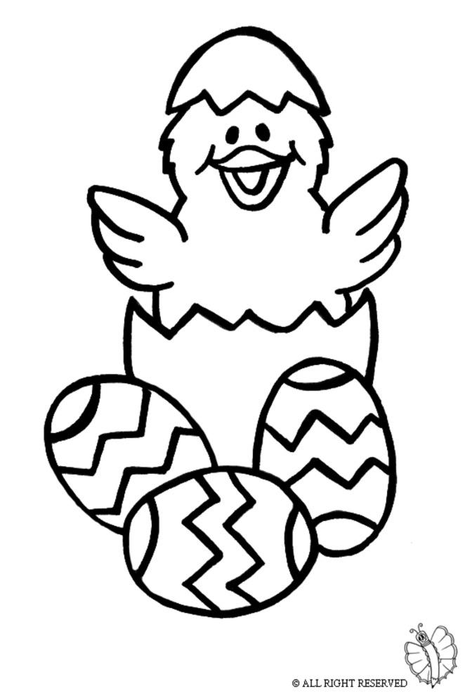 disegno di Uova di Pasqua con Pulcino da colorare