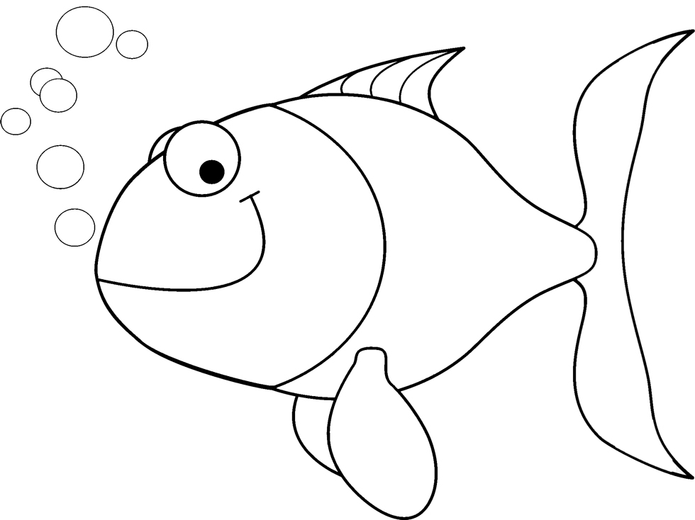 stampa disegno di pesciolino con bollicine da colorare