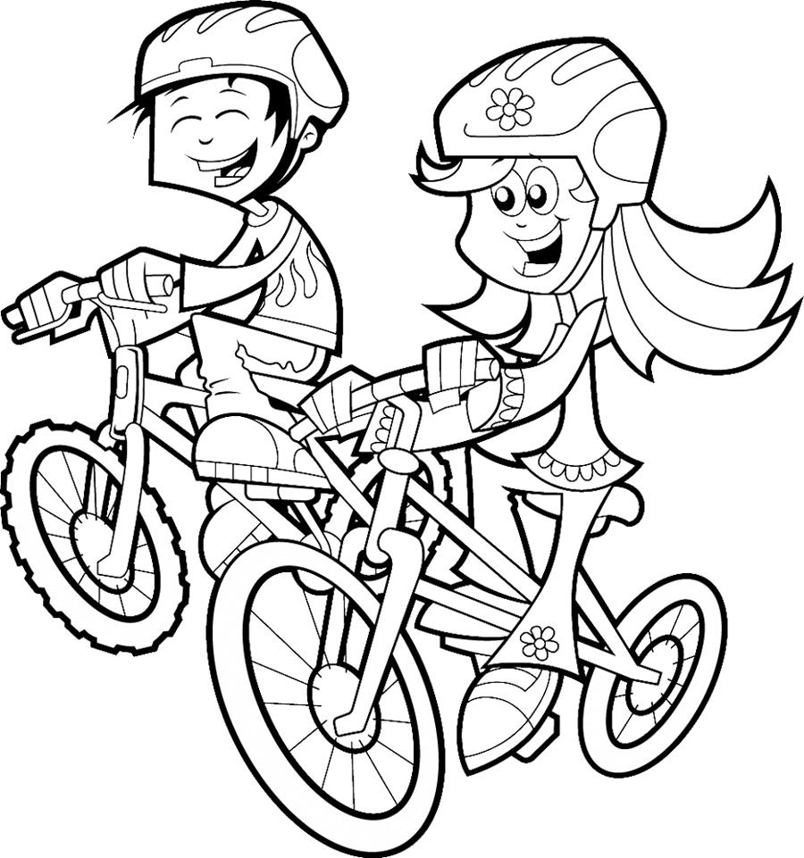 Stampa Disegno Di Bambini In Bicicletta Da Colorare