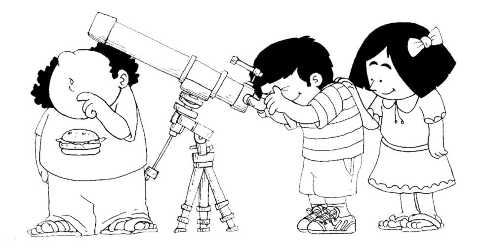 disegno di Bambini con Telescopio da colorare