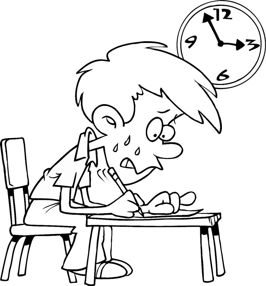 Stampa disegno di esame a scuola da colorare - Torna a scuola da colorare ...