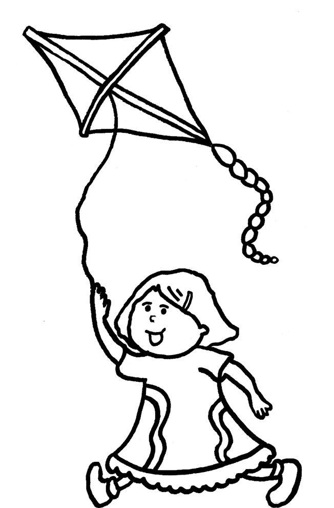 Stampa disegno di bambina con aquilone da colorare for Disegno bambina da colorare