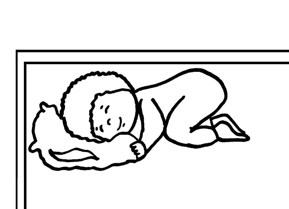 bambino che dorme letto da colorare