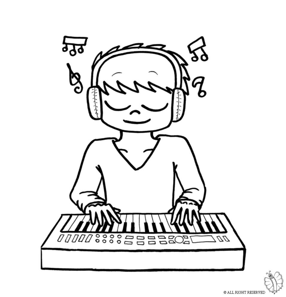 Stampa disegno di bambino che suona la pianola da colorare for Strumento online gratuito piano piano