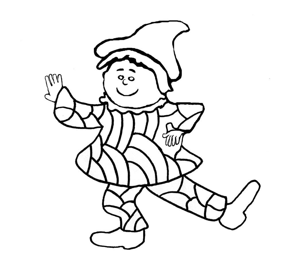 Stampa disegno di giullare da colorare for Arlecchino disegno da stampare