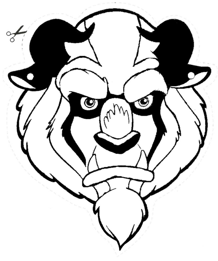 Stampa Disegno Di Maschera Della Bestia Da Ritagliare Da Colorare