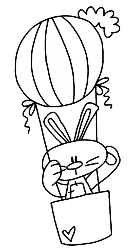 Stampa disegno di coniglio in mongolfiera da colorare for Lepre immagini da stampare