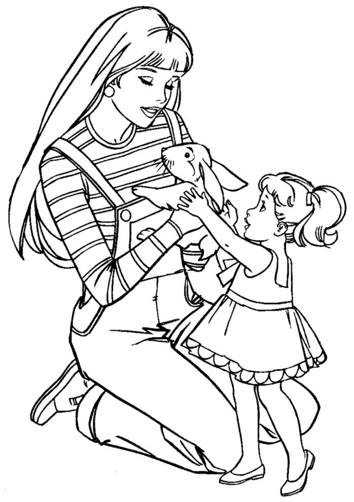 Stampa disegno di barbie ed il coniglio a colori for Disegni di casa