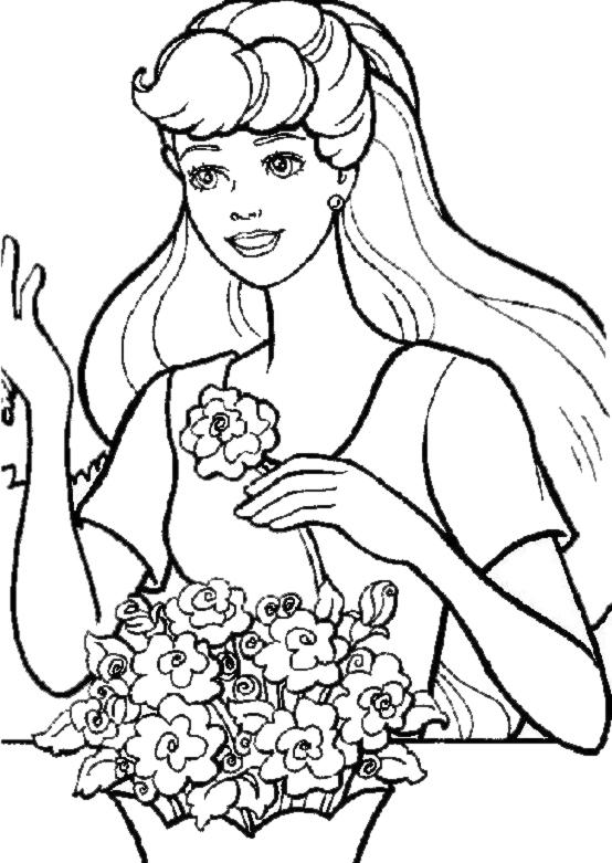 Stampa disegno di barbie ed i fiori da colorare for Disegni barbie da colorare gratis