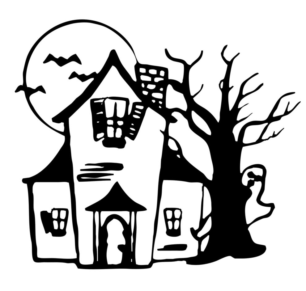 Stampa disegno di casa con fantasmi da colorare - Disegni di casa da colorare per bambini ...