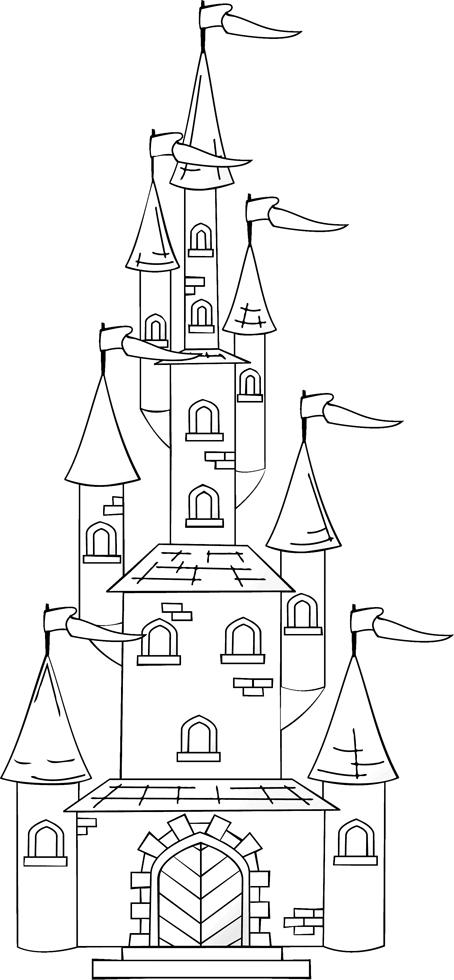 stampa disegno di il castello con le torri da colorare