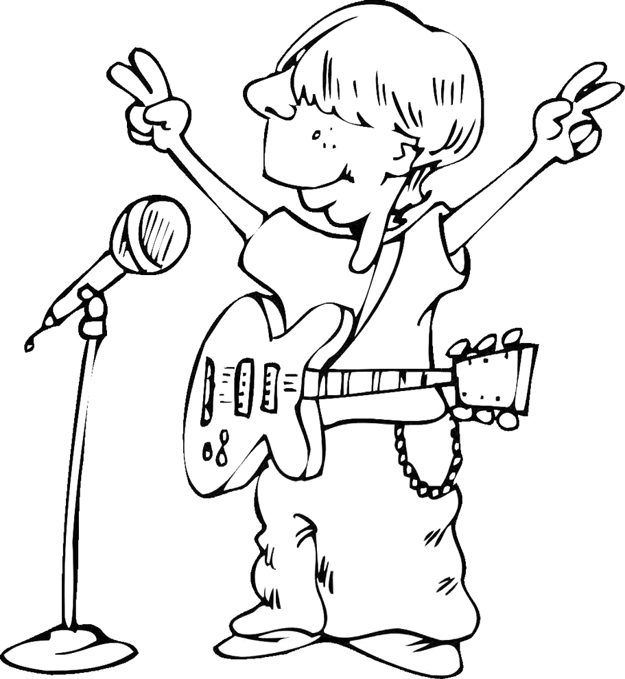 Stampa disegno di cantante con chitarra da colorare for Disegno pagliaccio da colorare