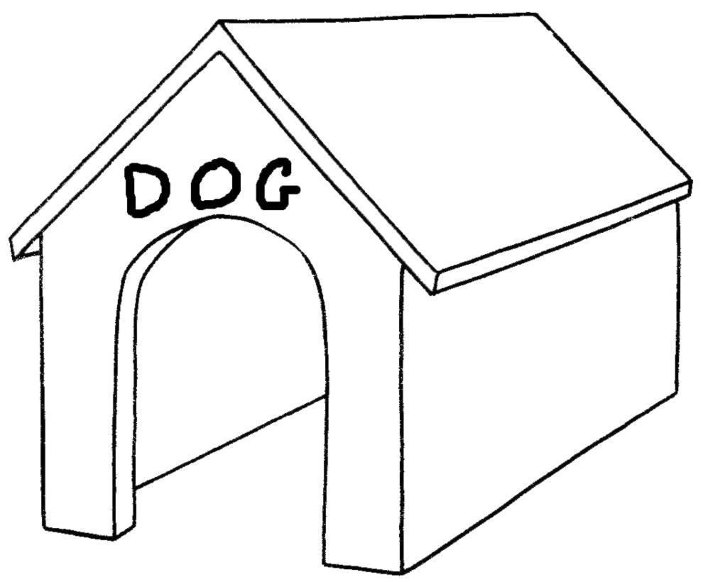 Stampa disegno di cuccia del cane da colorare for Disegno cane per bambini