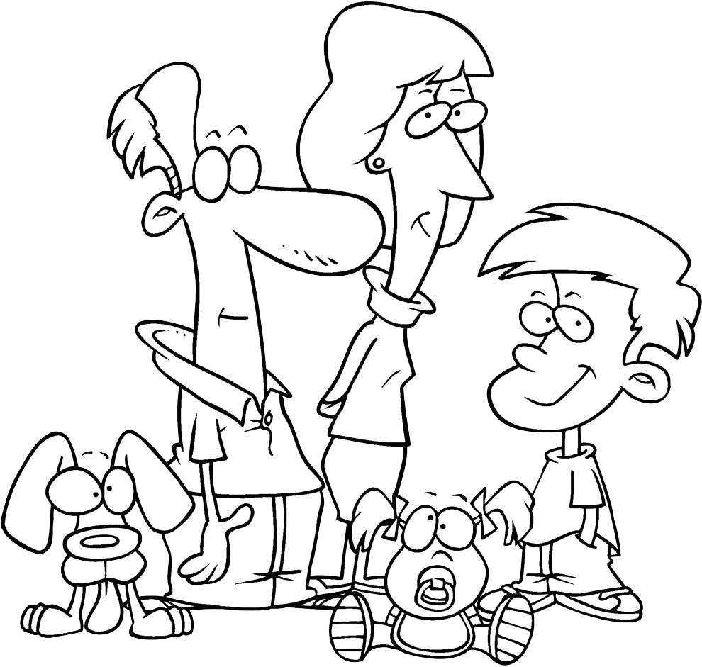 Stampa disegno di la famiglia da colorare for Immagini della pimpa da colorare