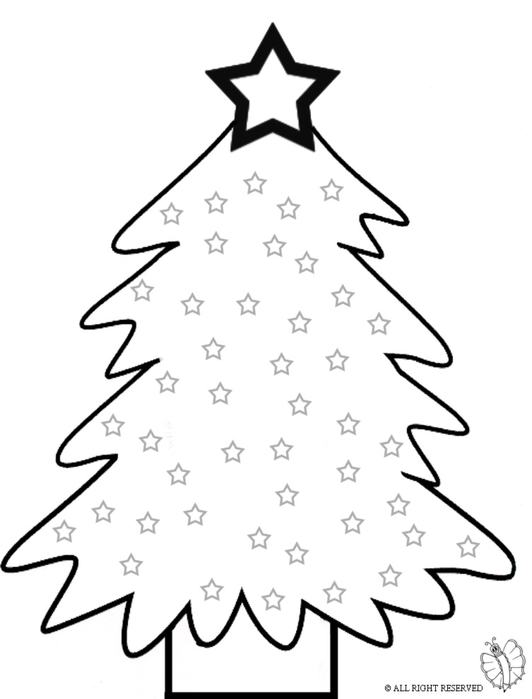 Stampa disegno di albero con stelle da colorare for Disegni facili di natale