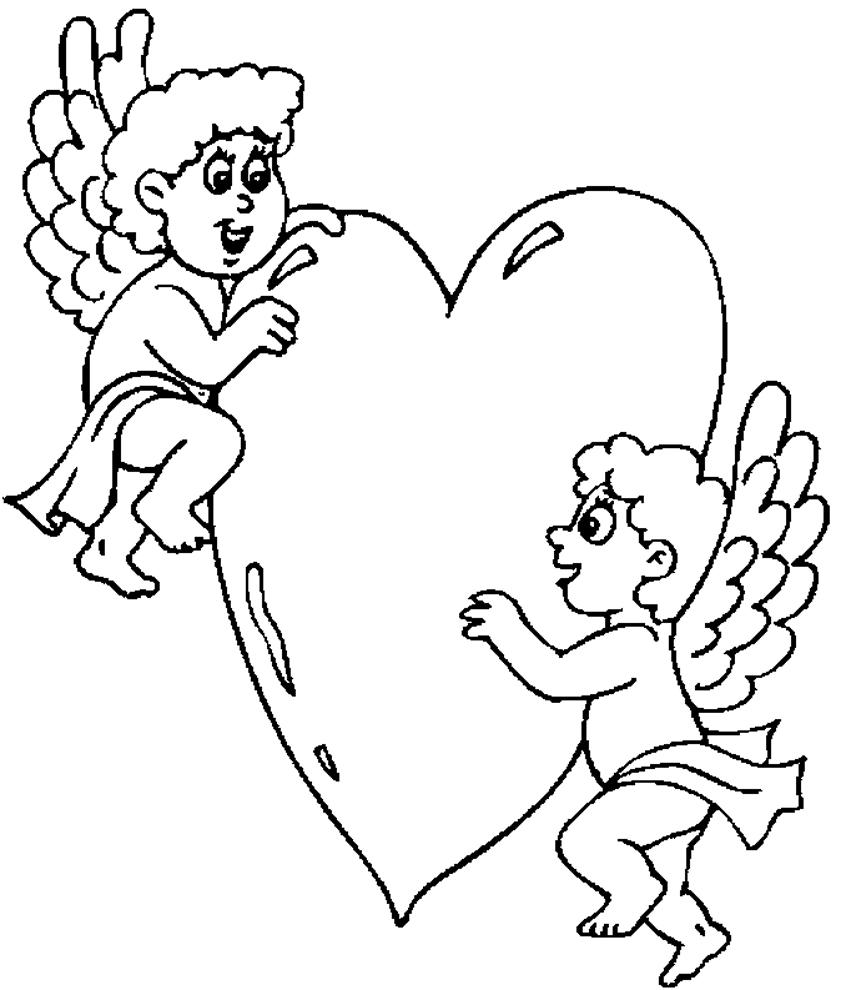Stampa disegno di angeli con cuore da colorare for Disegni angeli da colorare gratis