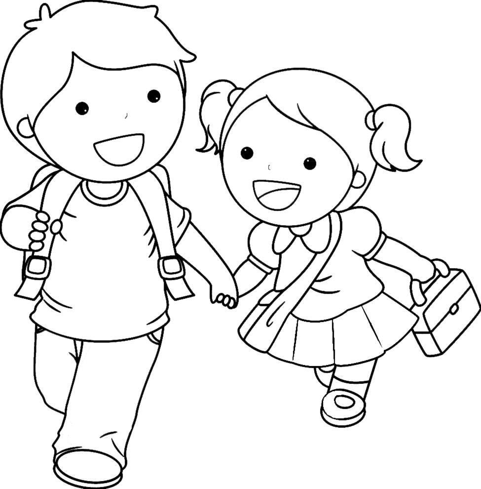 Sta disegno di bambini delle elementari da colorare