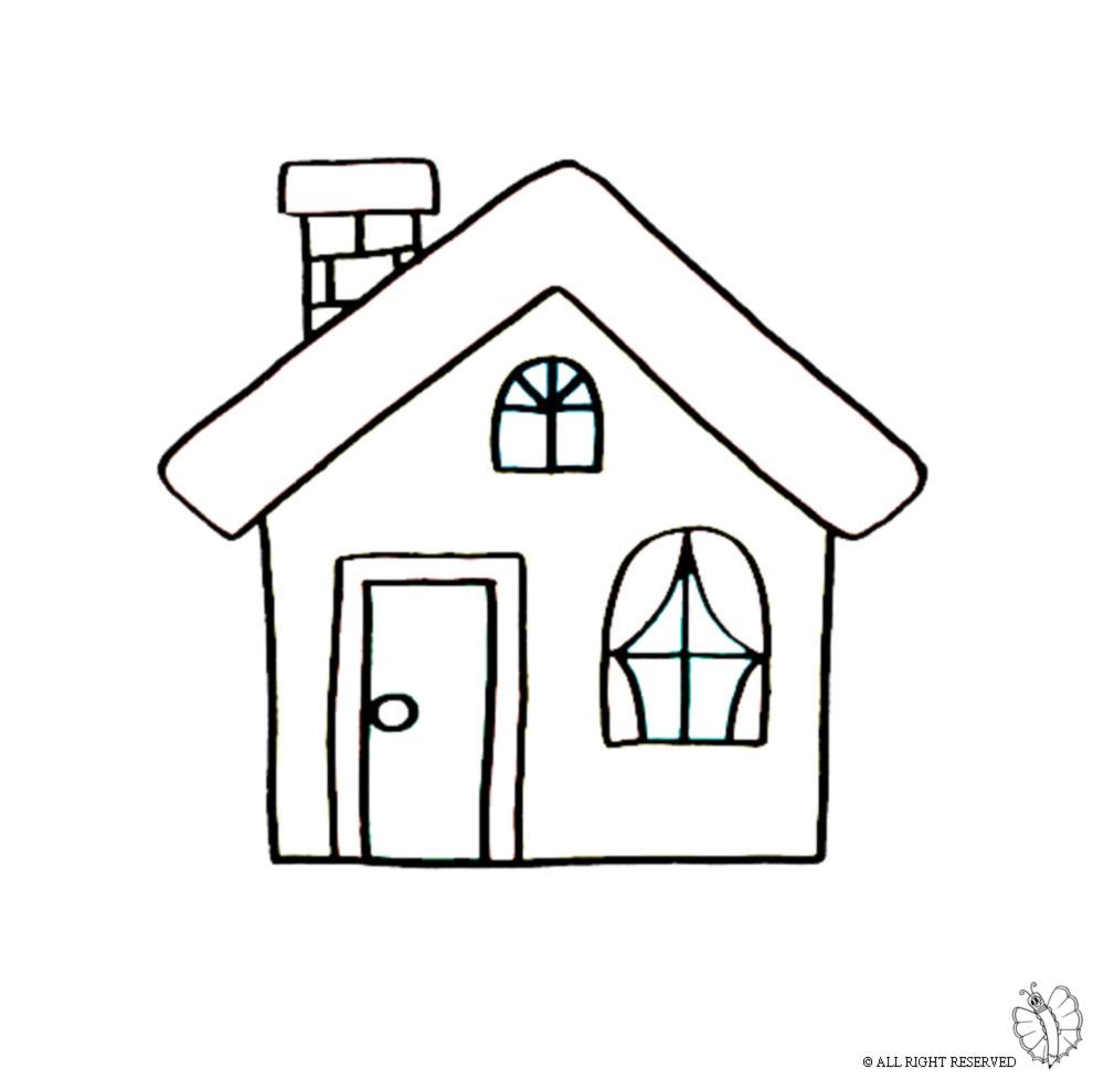 stampa disegno di casa con camino da colorare
