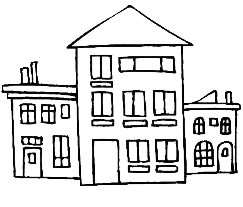 stampa disegno di case da colorare