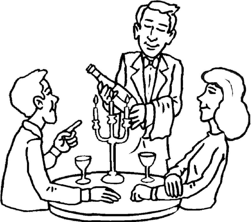 Stampa disegno di cena romantica da colorare for Costruzione di disegni online