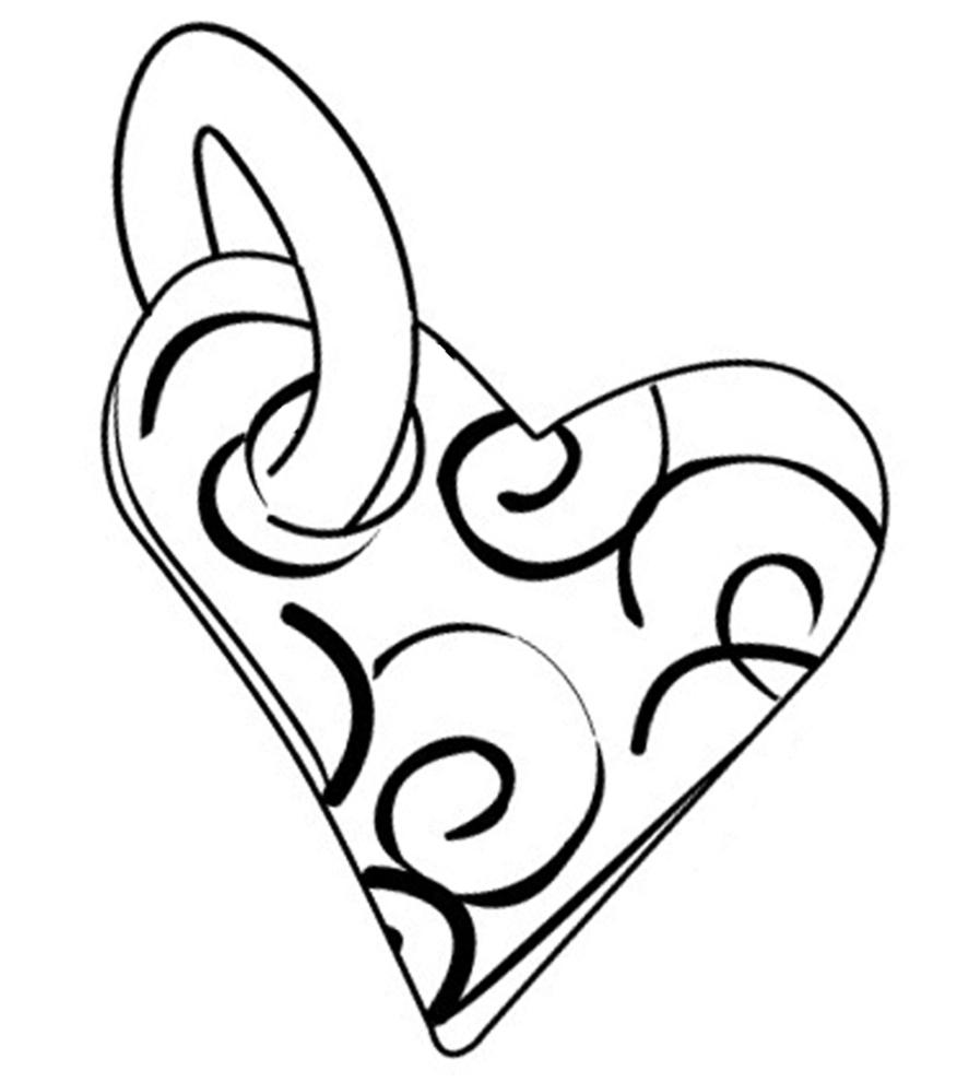 Stampa disegno di cuore a ciondolo da colorare for Disegni disney da copiare