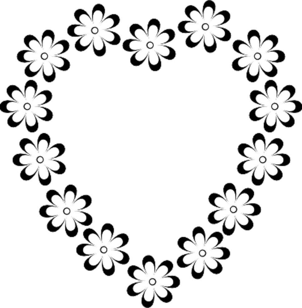 disegno di Cuore di Fiori da colorare