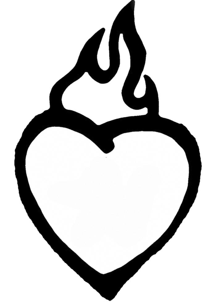 Stampa disegno di cuore in fiamme da colorare for Disegni di cuori da stampare gratis